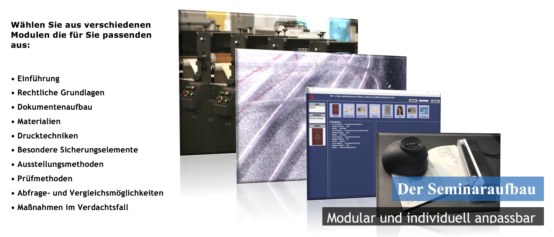 Seminarmodule Dokumentenfälschung Dokumentenprüfung Falsifikat Ausweis Pass Drucktechnik Sicherungsmethoden